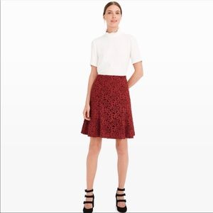 Club Mónaco Red Wine Láser Cut Embroidered Skirt